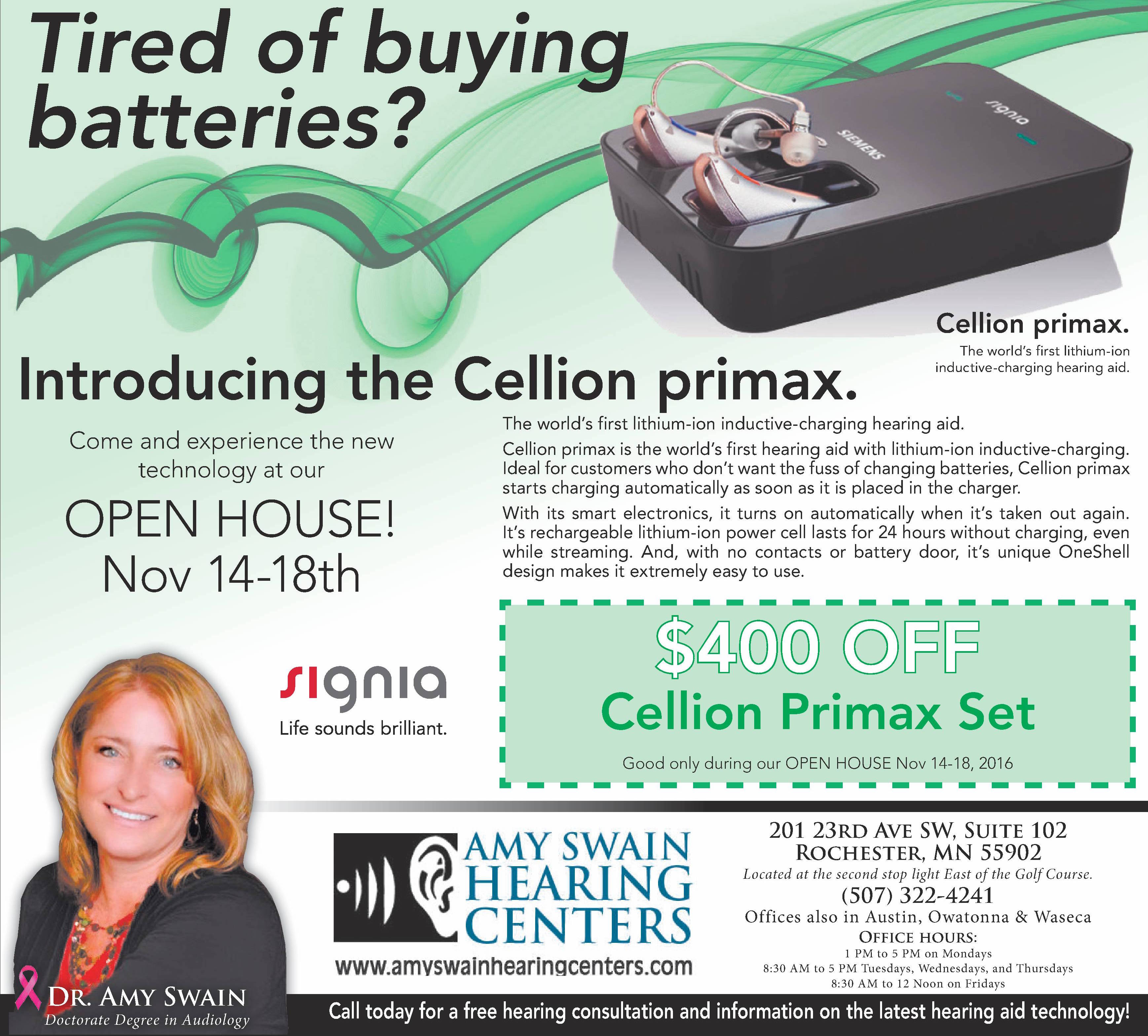 Celion-Primax Hearing Instrument - Amy Swain Hearing Centers